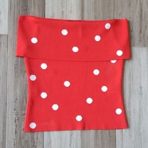 Cyrus Red and White Polka Dot Off the Shoulder Top